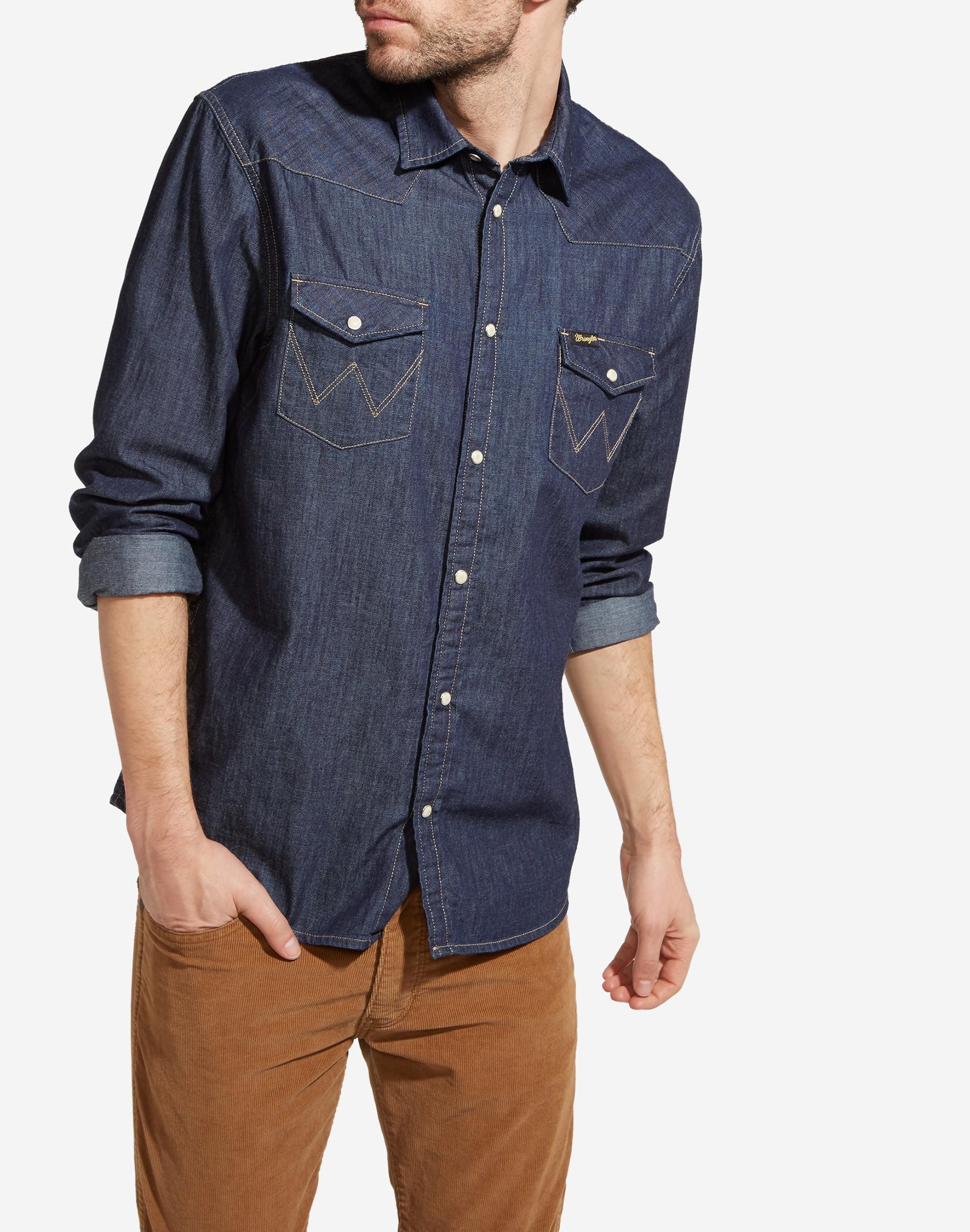 eb7a57d18e0 Mens Wrangler Classic Denim Western Shirt - Long Sleeved