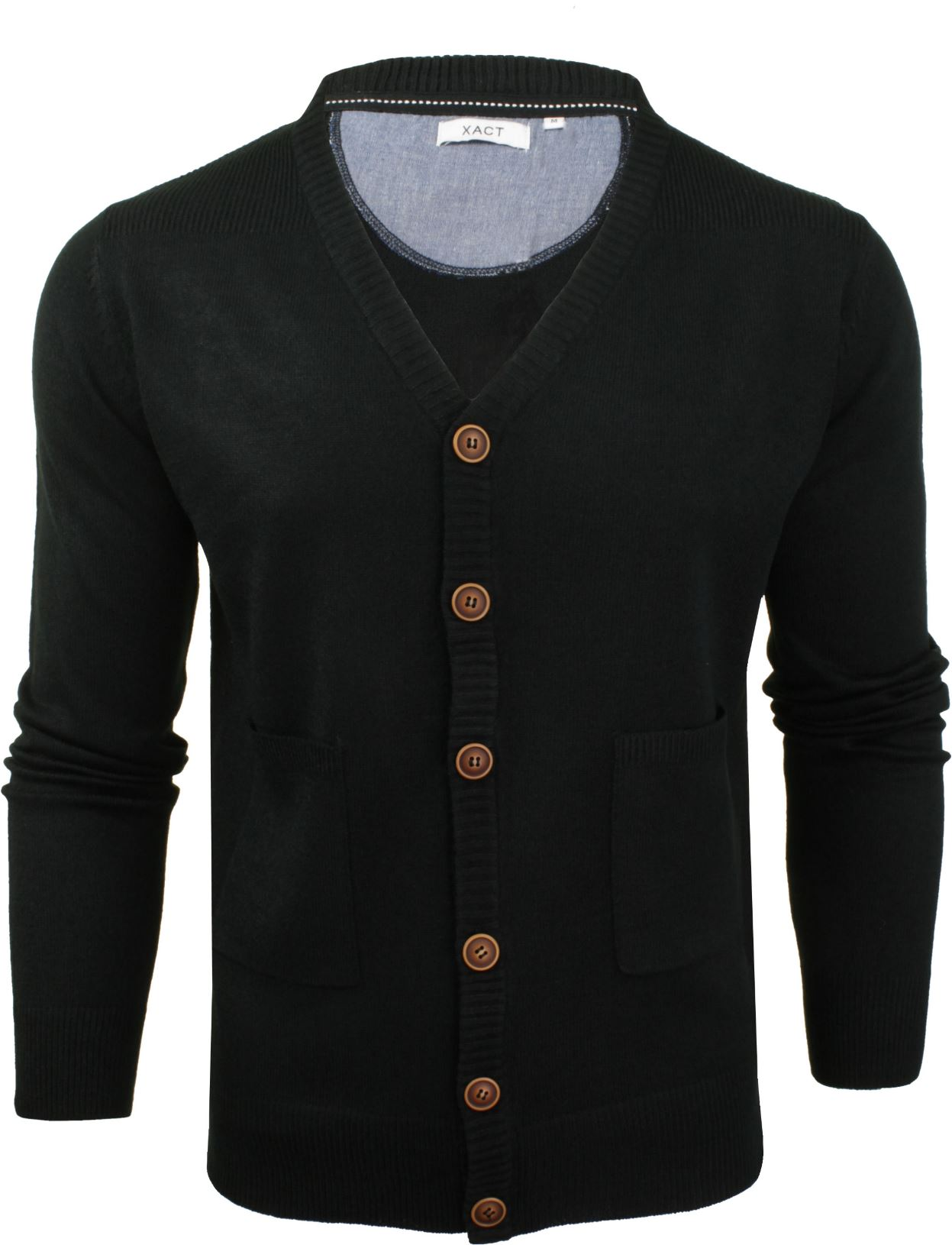 Mens Cardigan Button Front Fashion Jumper by Xact | eBay