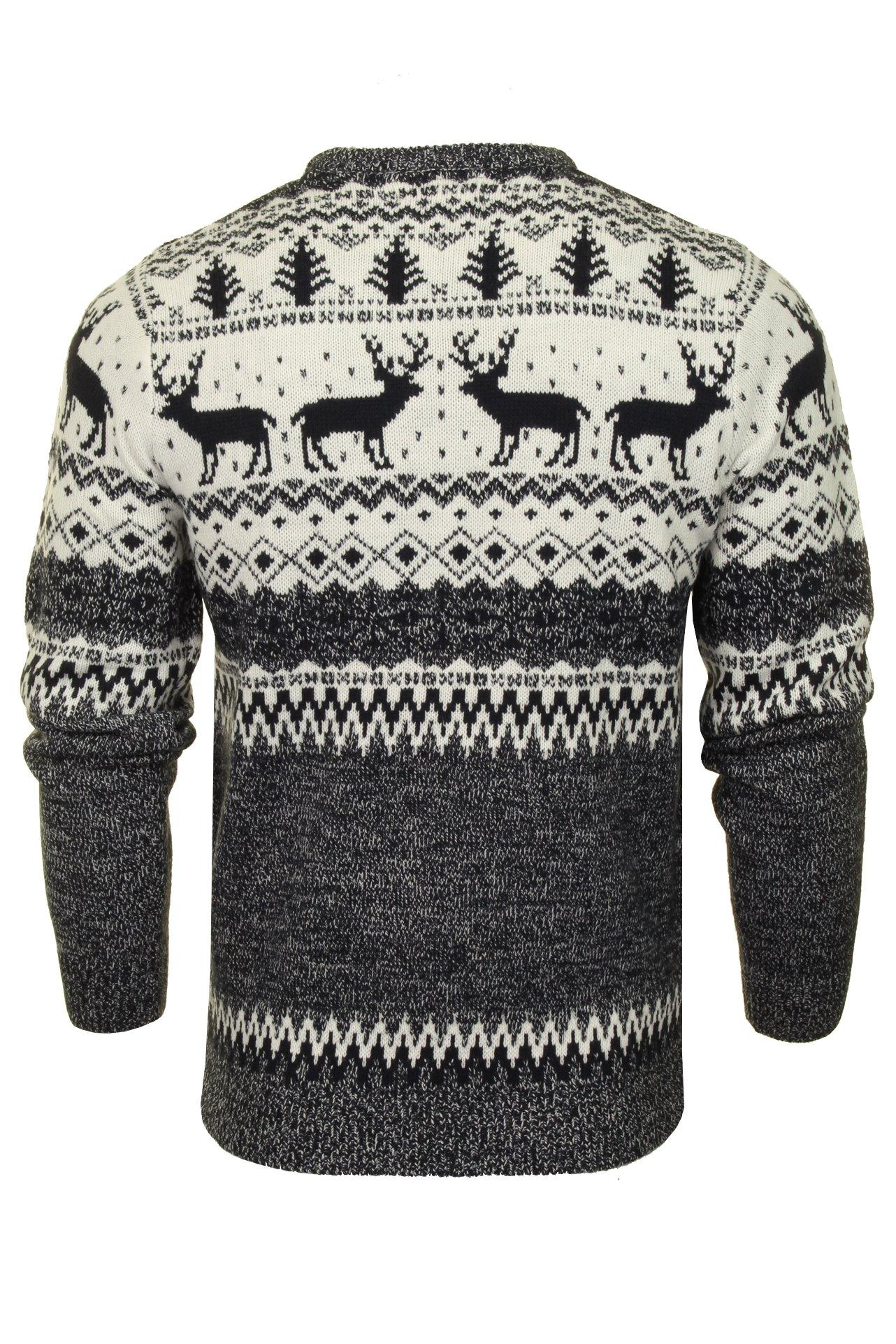 Mens-Xact-Christmas-Xmas-Jumper-039-Reindeer-Fairisle-Crew-039 thumbnail 5