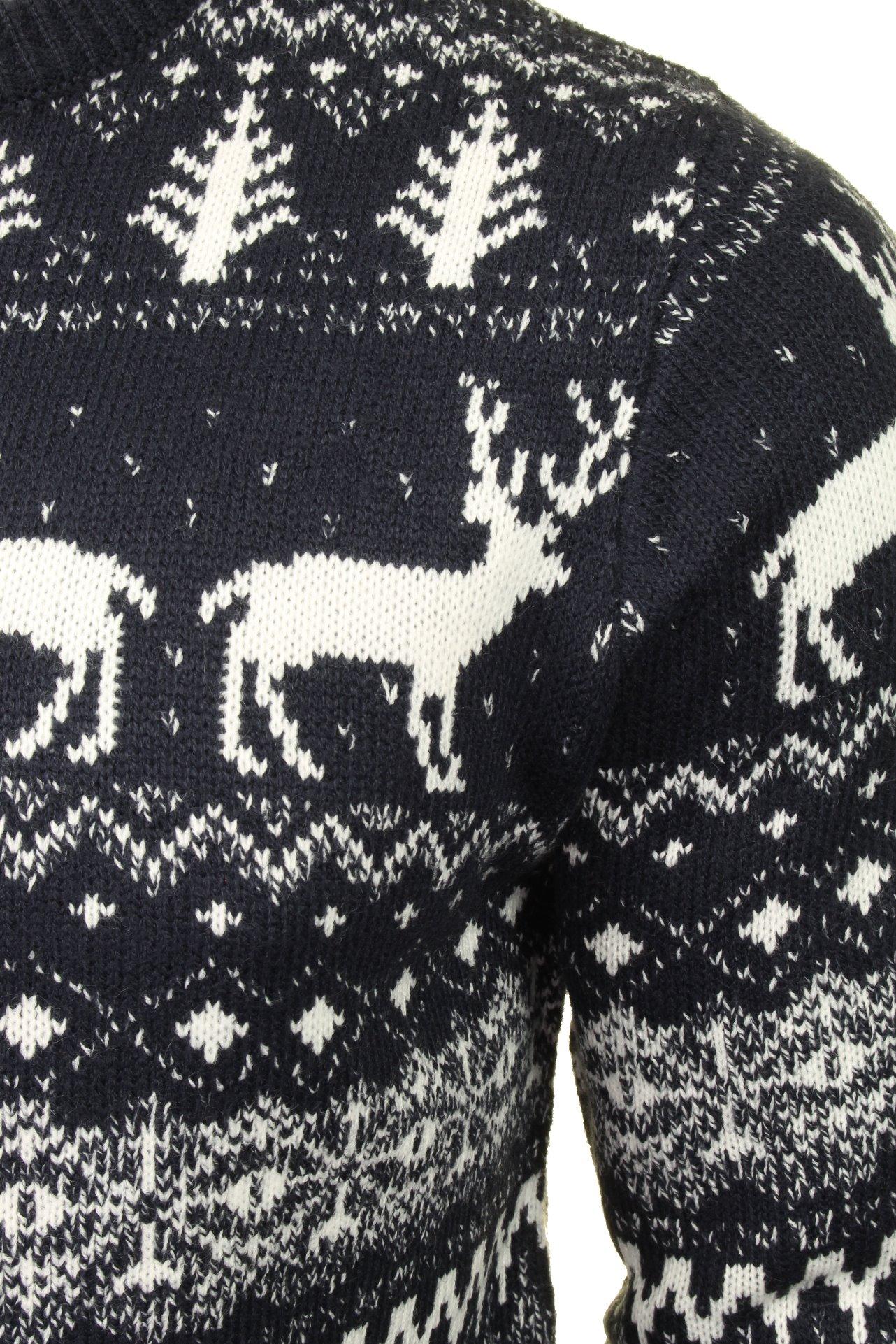 Mens-Xact-Christmas-Xmas-Jumper-039-Reindeer-Fairisle-Crew-039 thumbnail 7