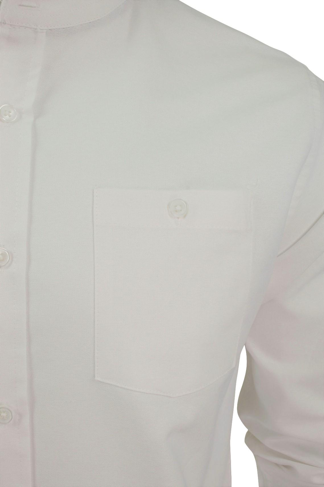 Xact-Mens-Grandad-Collar-Nehru-Oxford-de-Superdry-de-manga-larga-039-Augusto-039-s miniatura 7