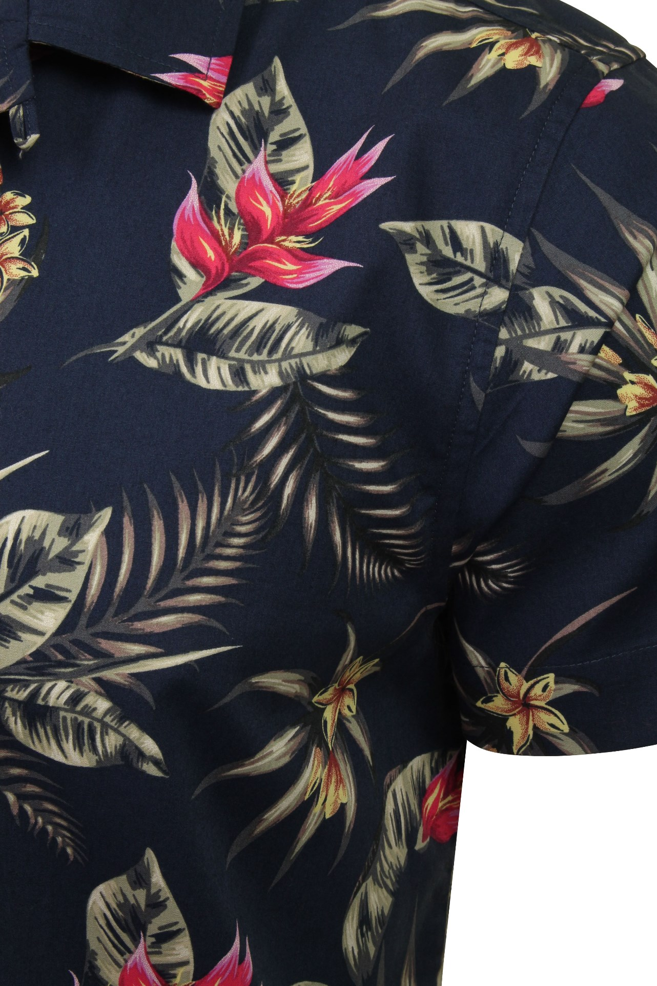 Hommes-Xact-Floral-Chemise-Hawaienne-a-Manches-Courtes miniature 4
