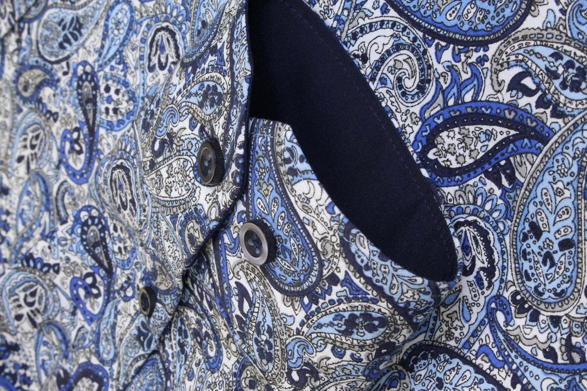 Xact-Mens-Long-Sleeved-Paisley-Shirt-Slim-Fit thumbnail 8