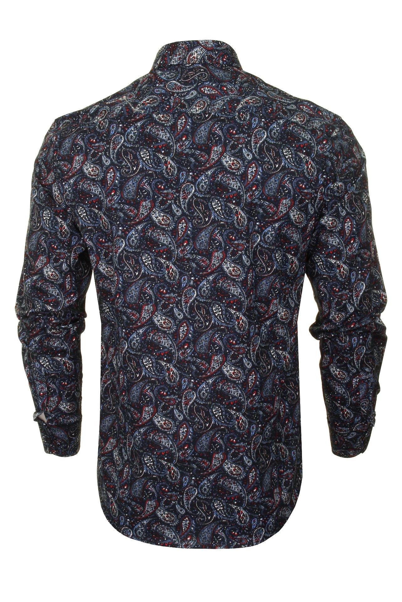 Xact-Mens-Long-Sleeved-Paisley-Shirt-Slim-Fit thumbnail 14