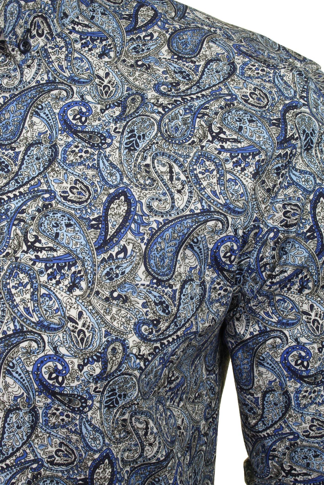 Xact-Mens-Long-Sleeved-Paisley-Shirt-Slim-Fit thumbnail 5