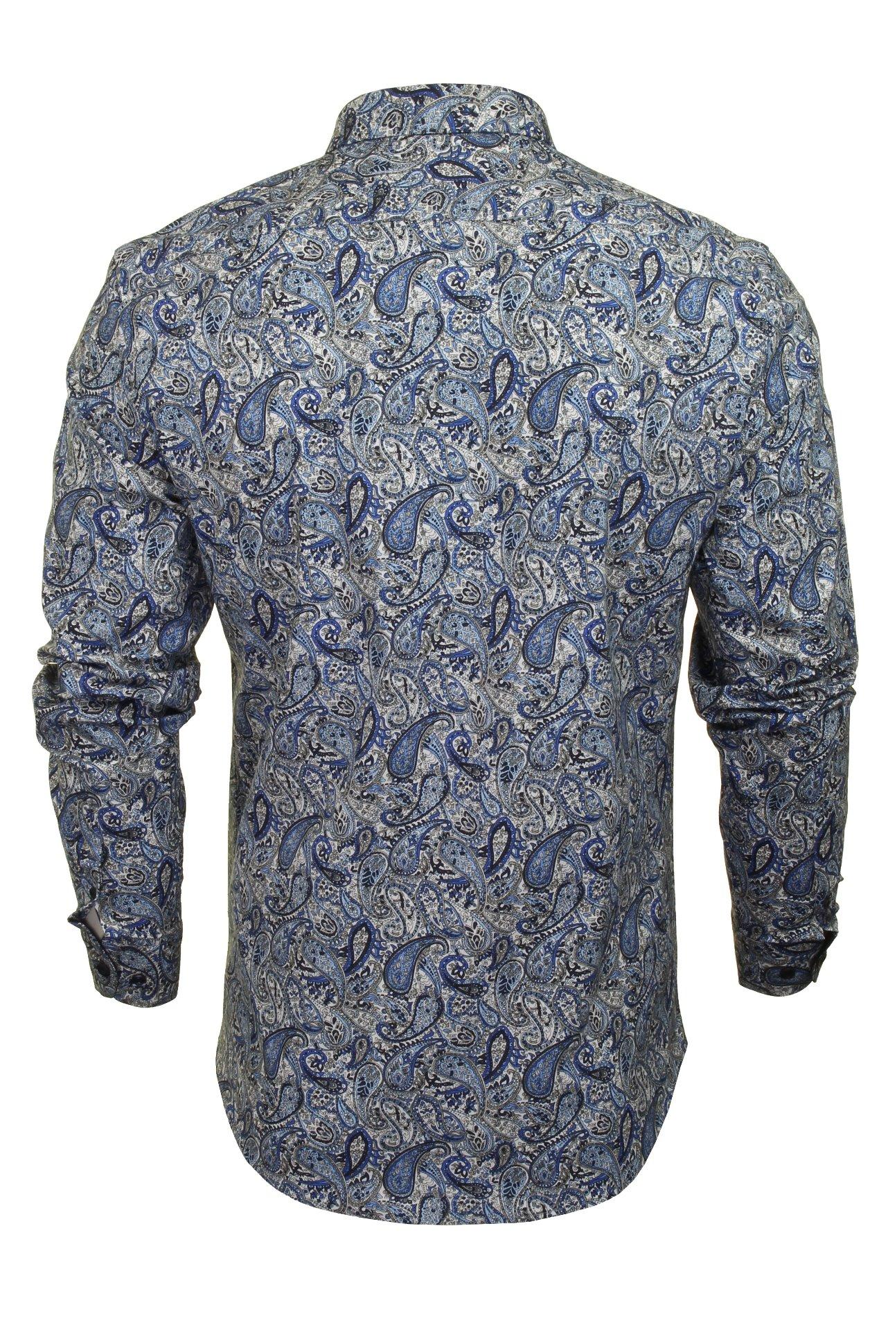 Xact-Mens-Long-Sleeved-Paisley-Shirt-Slim-Fit thumbnail 6