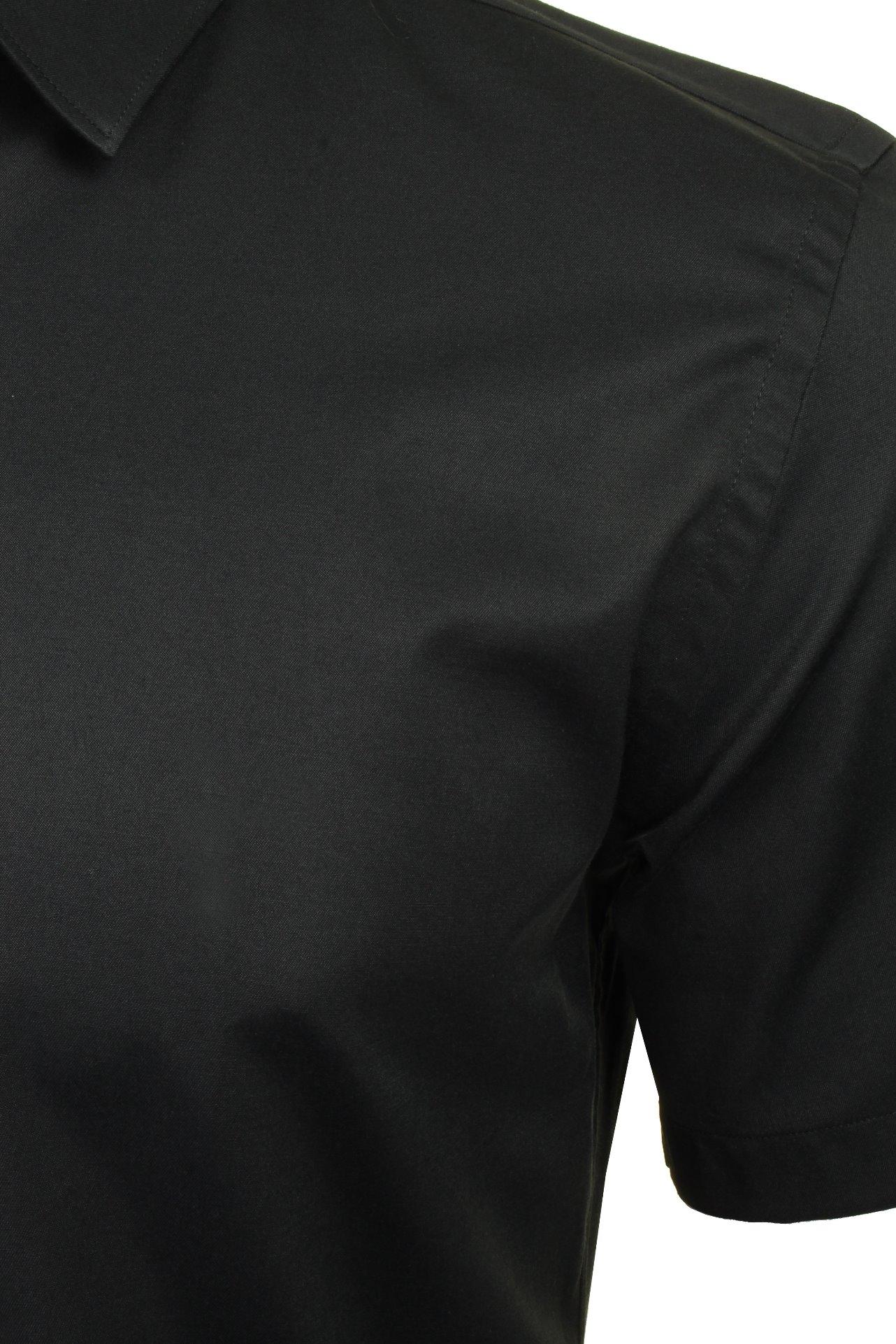 Xact-para-Hombre-de-Manga-Corta-Camisa-Slim-Fit-Popelin-del-estiramiento miniatura 5