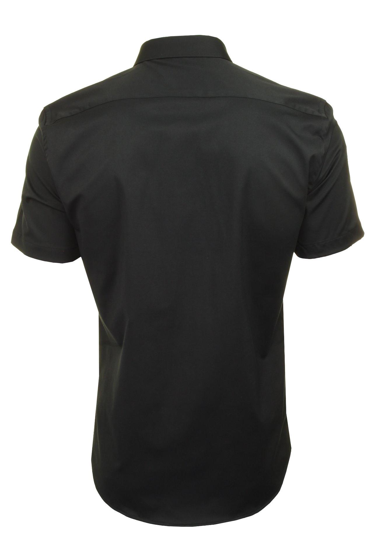 Xact-para-Hombre-de-Manga-Corta-Camisa-Slim-Fit-Popelin-del-estiramiento miniatura 6