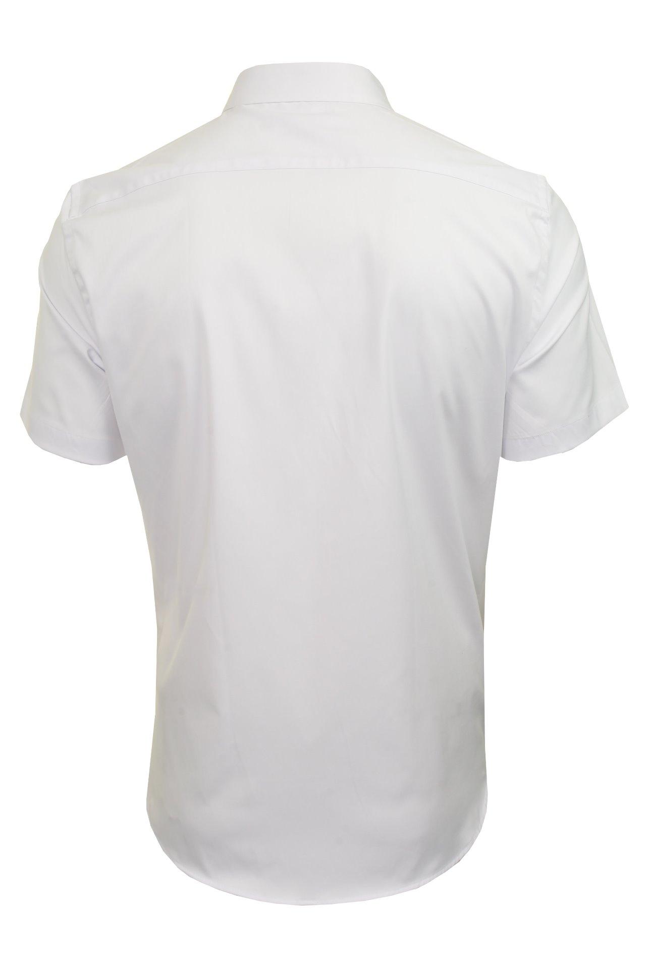 Xact-para-Hombre-de-Manga-Corta-Camisa-Slim-Fit-Popelin-del-estiramiento miniatura 13
