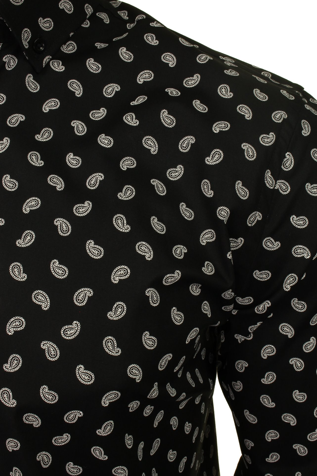 Xact-Mens-Long-Sleeved-Paisley-Shirt-Slim-Fit thumbnail 19