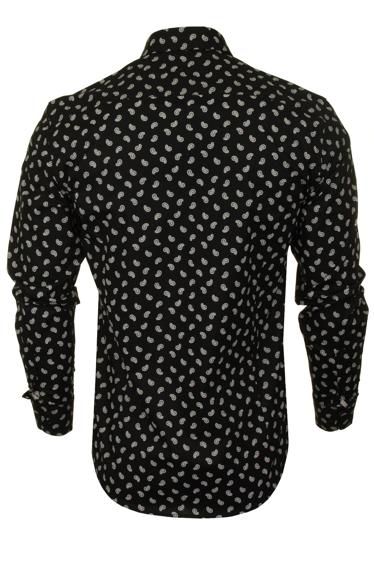 Xact-Mens-Long-Sleeved-Paisley-Shirt-Slim-Fit thumbnail 20