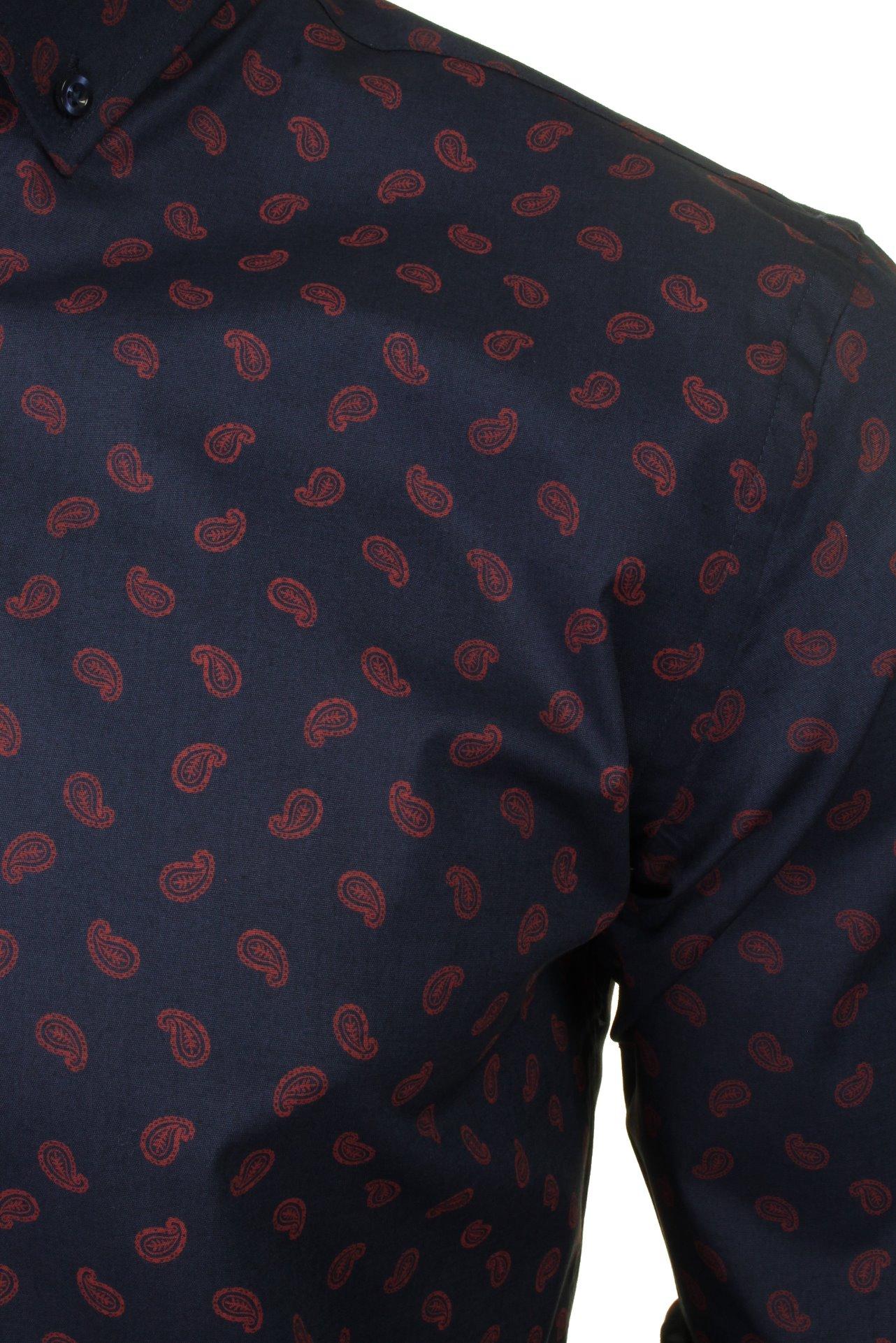 Xact-Mens-Long-Sleeved-Paisley-Shirt-Slim-Fit thumbnail 22