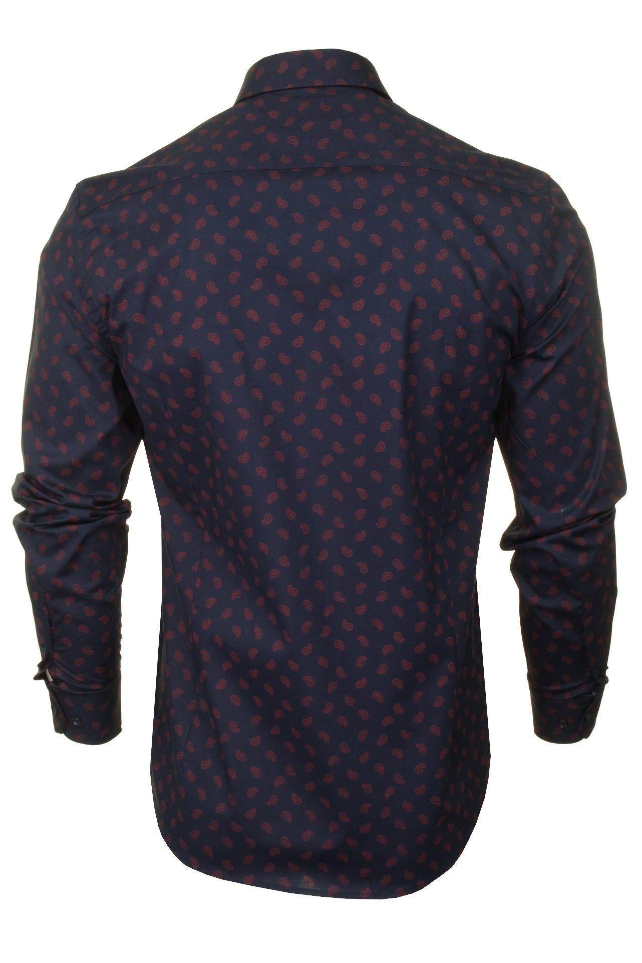 Xact-Mens-Long-Sleeved-Paisley-Shirt-Slim-Fit thumbnail 23