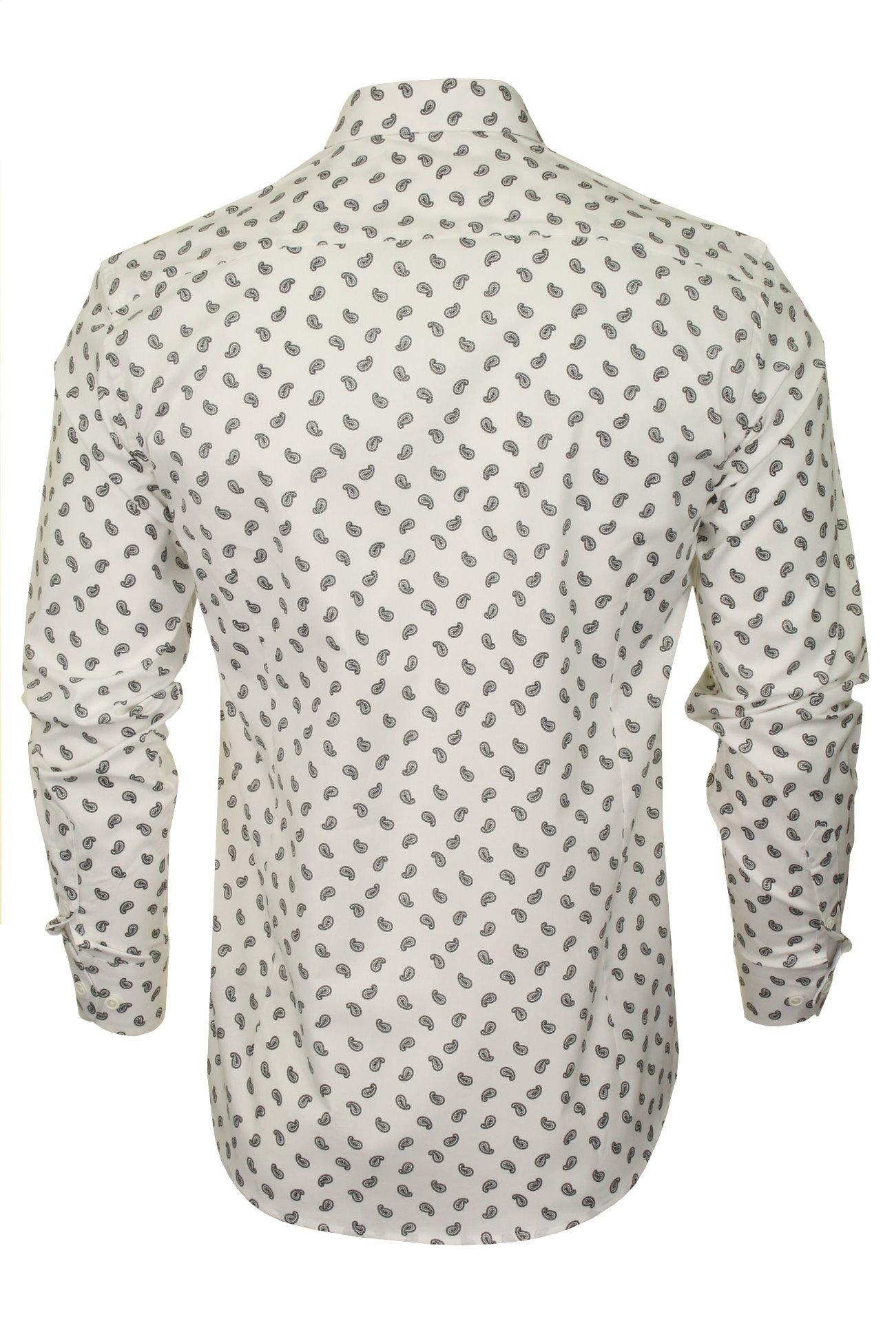Xact-Mens-Long-Sleeved-Paisley-Shirt-Slim-Fit thumbnail 26