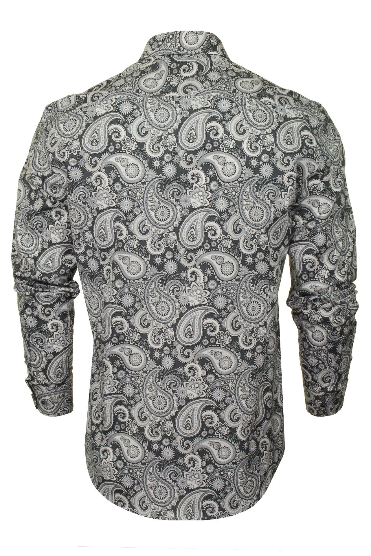 Xact-Mens-Long-Sleeved-Paisley-Shirt-Slim-Fit thumbnail 17