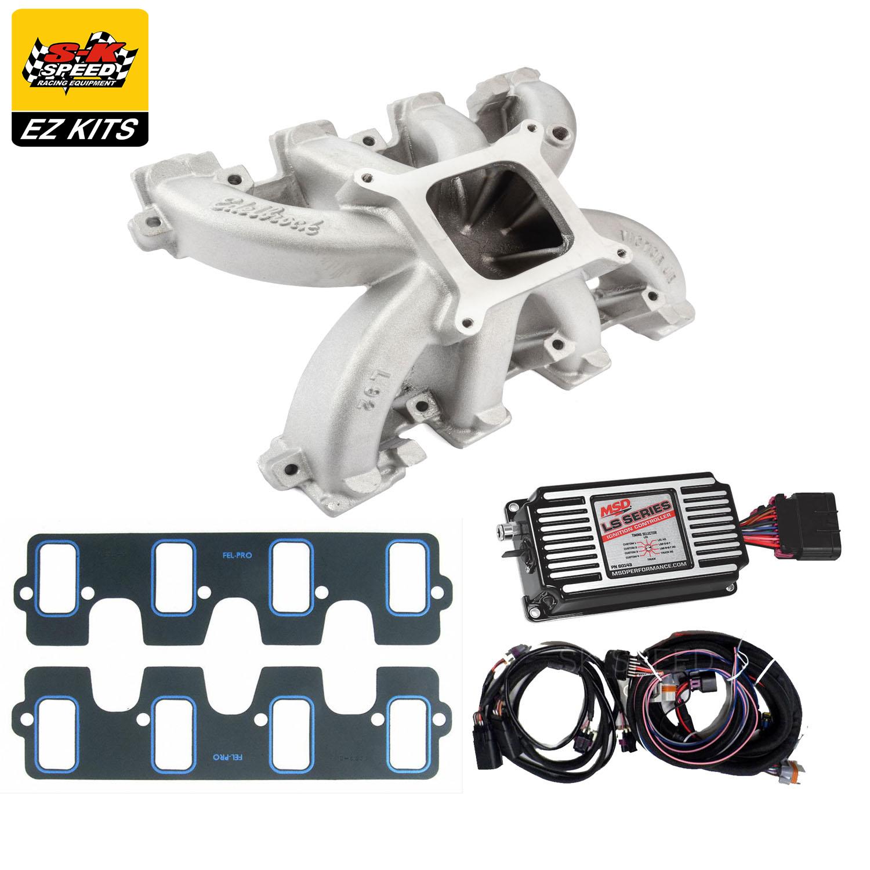 Details about LS3/L92/L76 Carb Conversion Kit Edelbrock Victor Jr Intake &  MSD 60143 Ignition