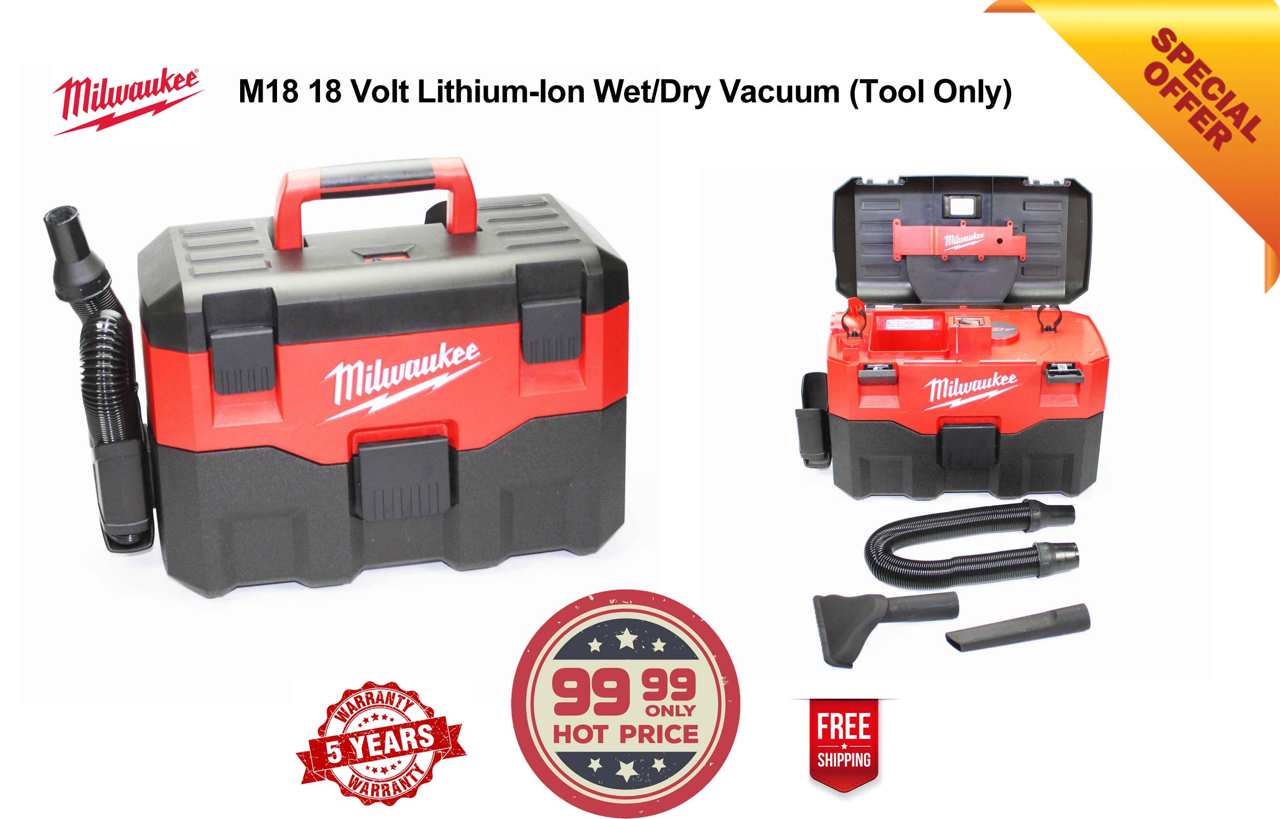 0880-20 Milwaukee M18 Wet Dryer Vacuum Cleaner