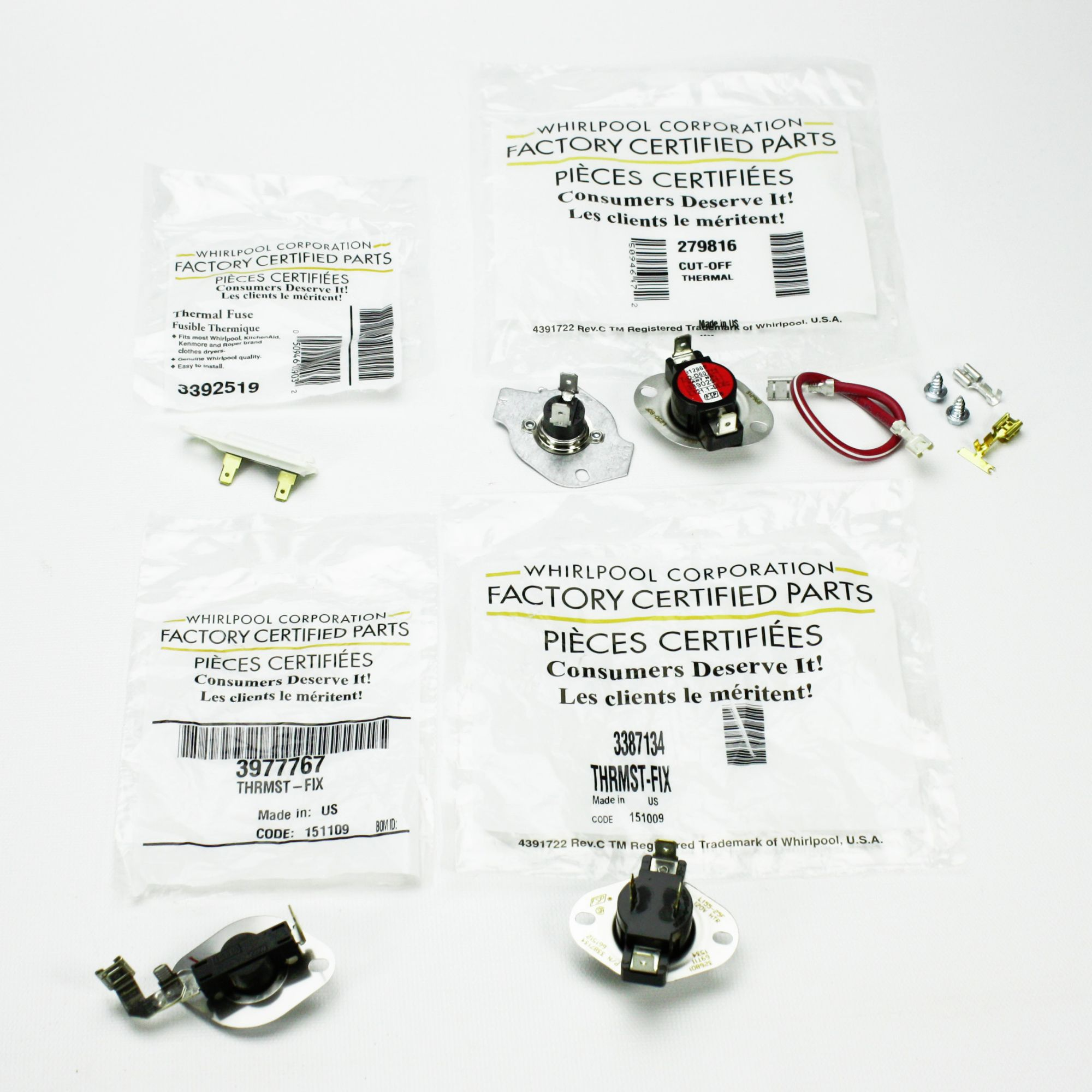 Whirlpool Dryer Thermostat Thermal Fuse Kit