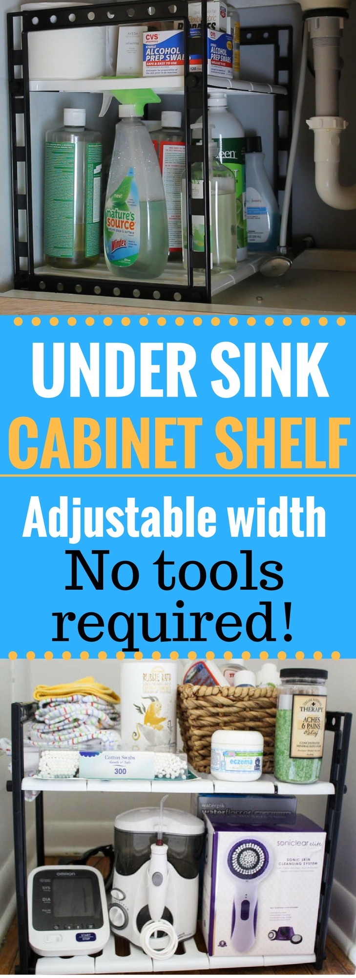 Organize w/ this Adjustable Under Sink Cabinet & Kitchen Cabinet ...