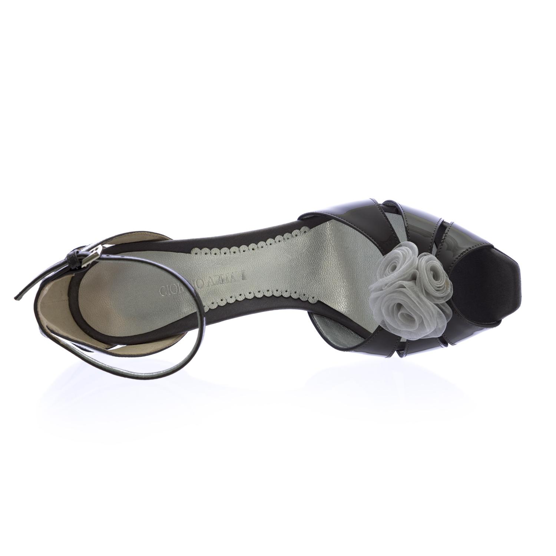 e7b6ecbc005a GIORGIO ARMANI Grey Patent Leather Stiletto Wedges XGDC66 US 9.5   EU 39.5   875