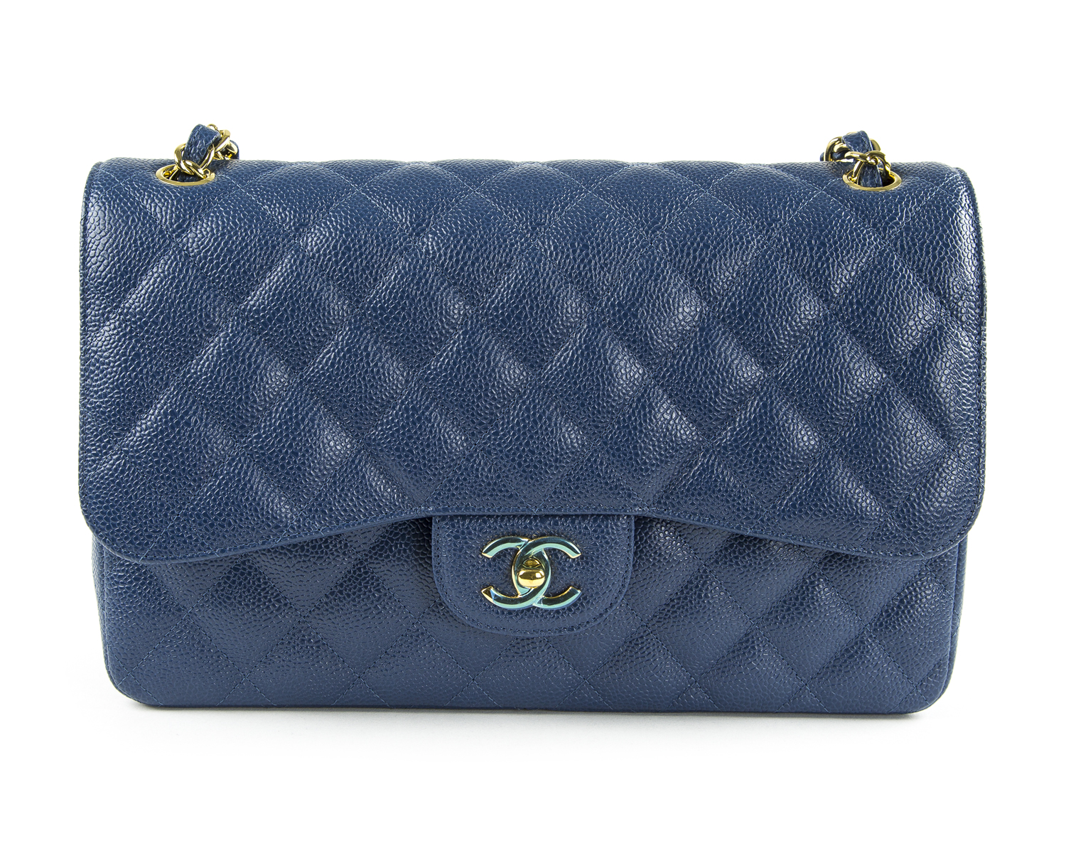 84dd25647a45e6 CHANEL Dark Blue Caviar Leather Jumbo Classic Flap Bag Gold Hardware $6,200  NEW
