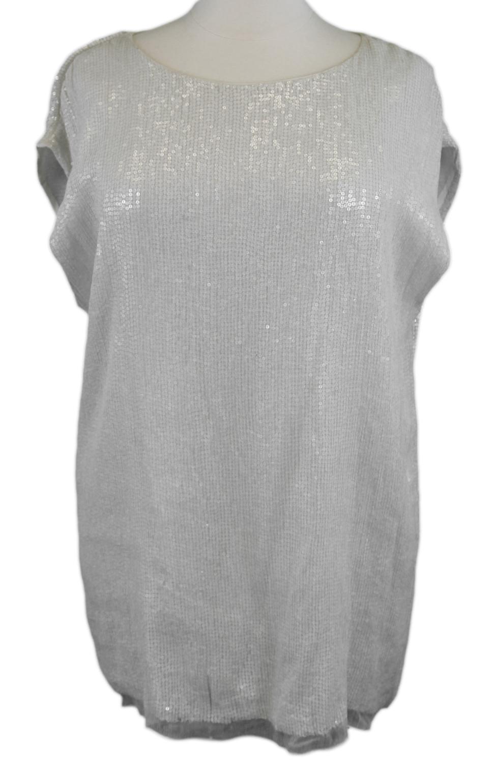 MARINA RINALDI by MaxMara Farsi Cream Sequin Embellished Top NWT