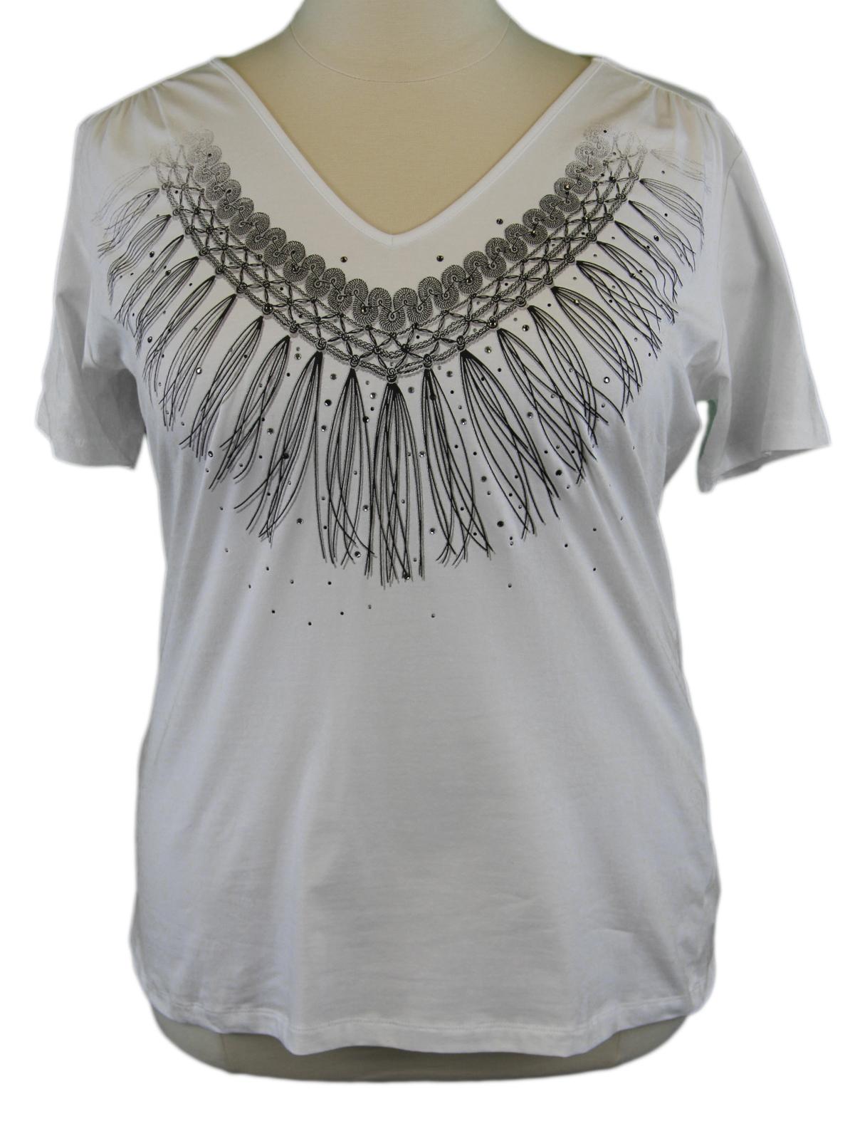 Marina Rinaldi By Maxmara Algone Weiß Quasten Design V-Ausschnitt T-Shirt Nwt