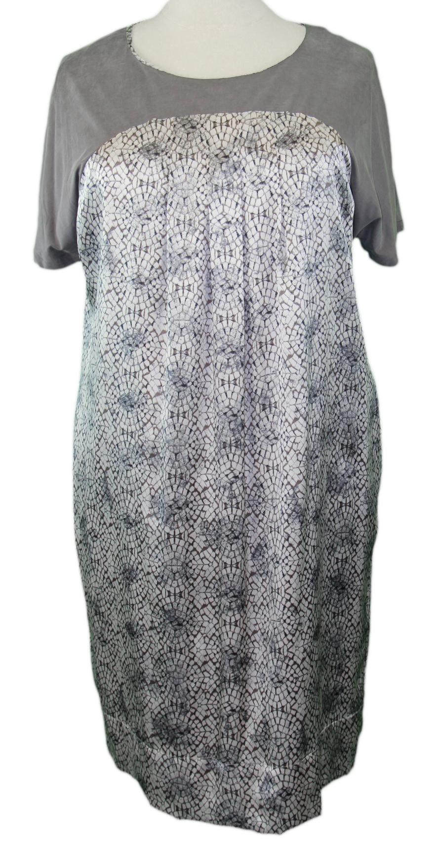 Marina Rinaldi By Maxmara Indice Medium Grau Grafik Kurzärmliges Kleid