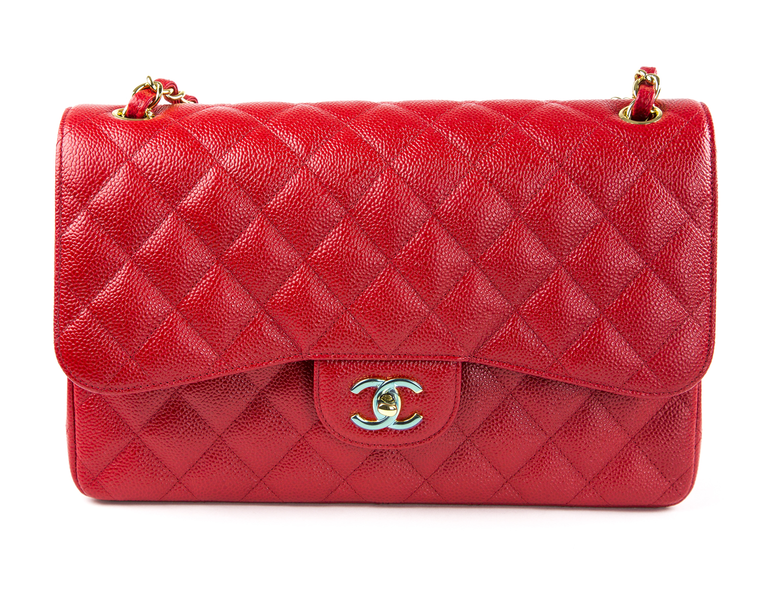 e2fccd87b6b6 CHANEL Red Caviar Leather Jumbo Classic Flap Bag Gold Hardware $6,200 NWOB