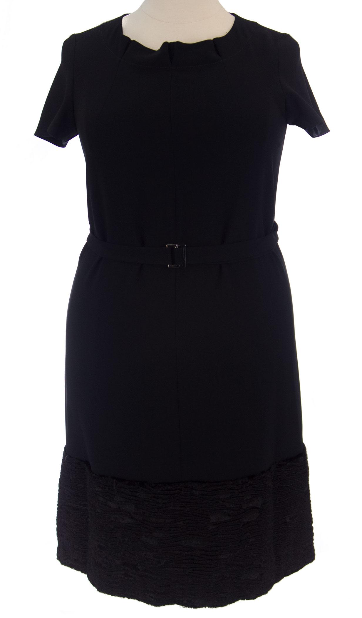 MARINA RINALDI by MaxMara Limer schwarz Short Sleeve Dress w  Belt  12W   21