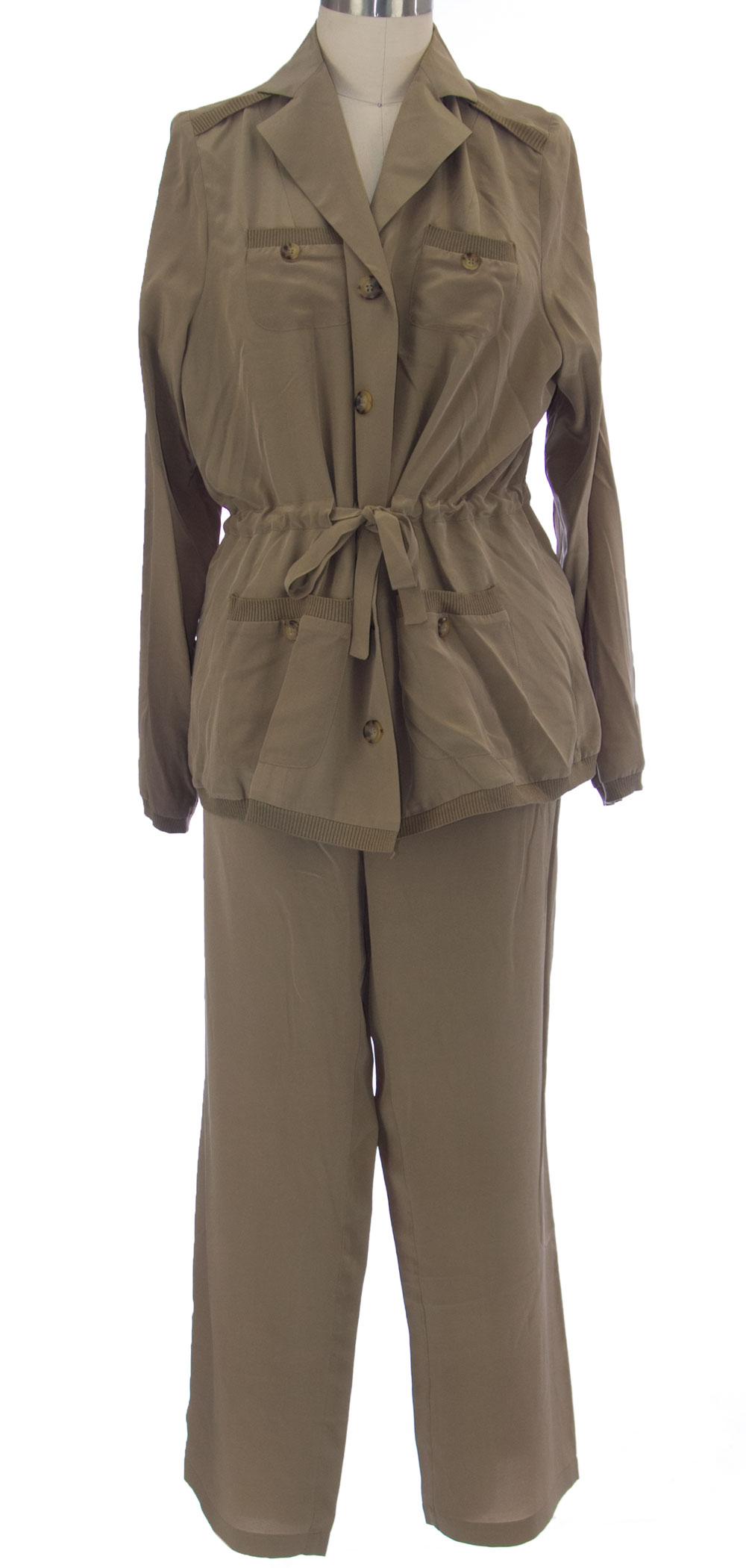 Marina Rinaldi da Maxmara Marchee Khaki 3-pc Giacca Pantalone Vestito 12w