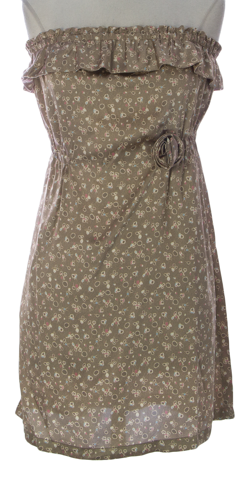 PRIORITIES Women/'s Beige Strapless Floral Print Dress #41651 $127 NEW