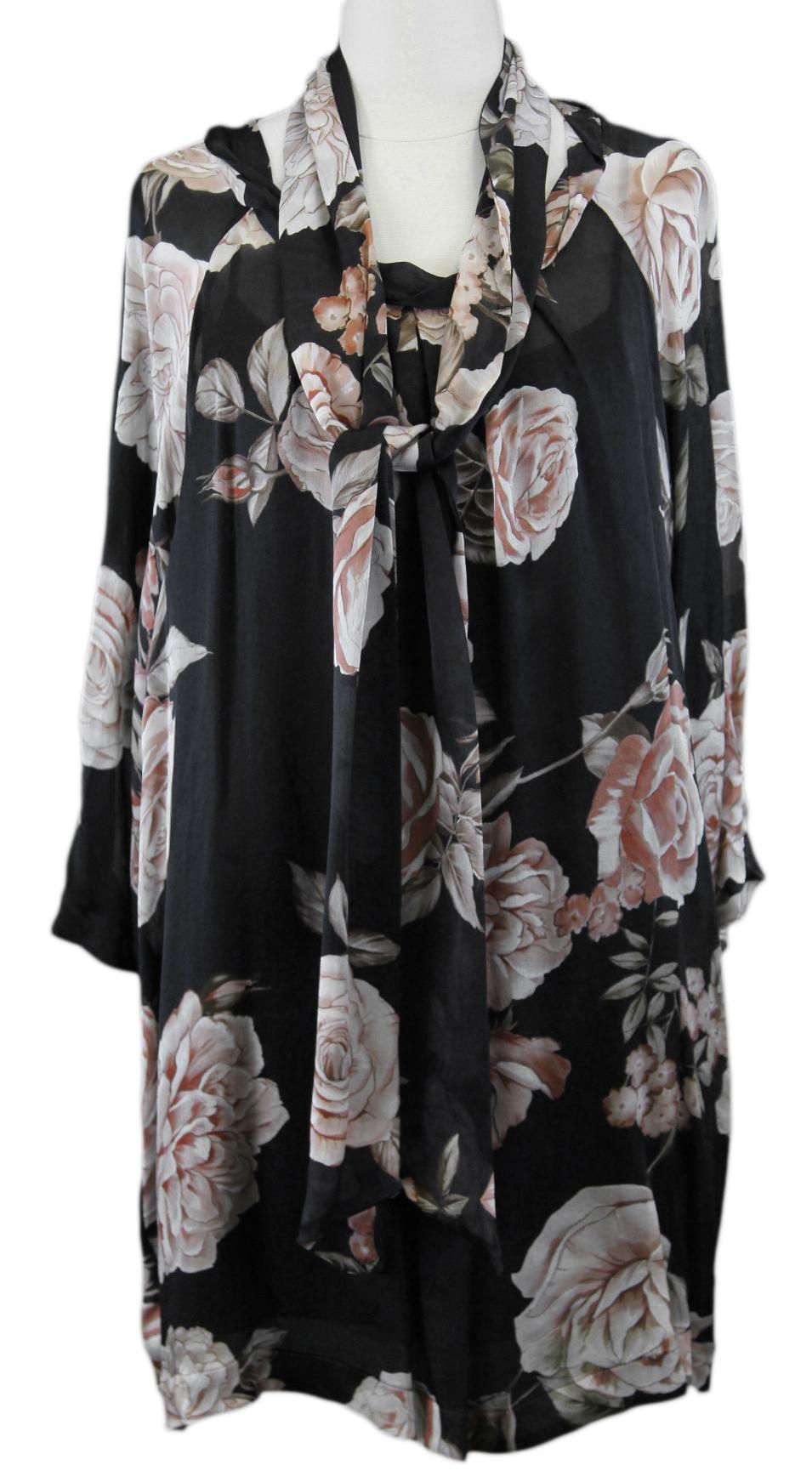 MARINA RINALDI by MaxMara Pernie schwarz   Rosa Floral Blouse w  Scarf  12W   21