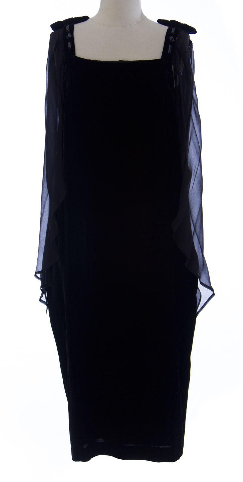 848fec03bc0 MARINA RINALDI by MaxMara Raudo Black Velour Drape Sleeve Dress 12W ...