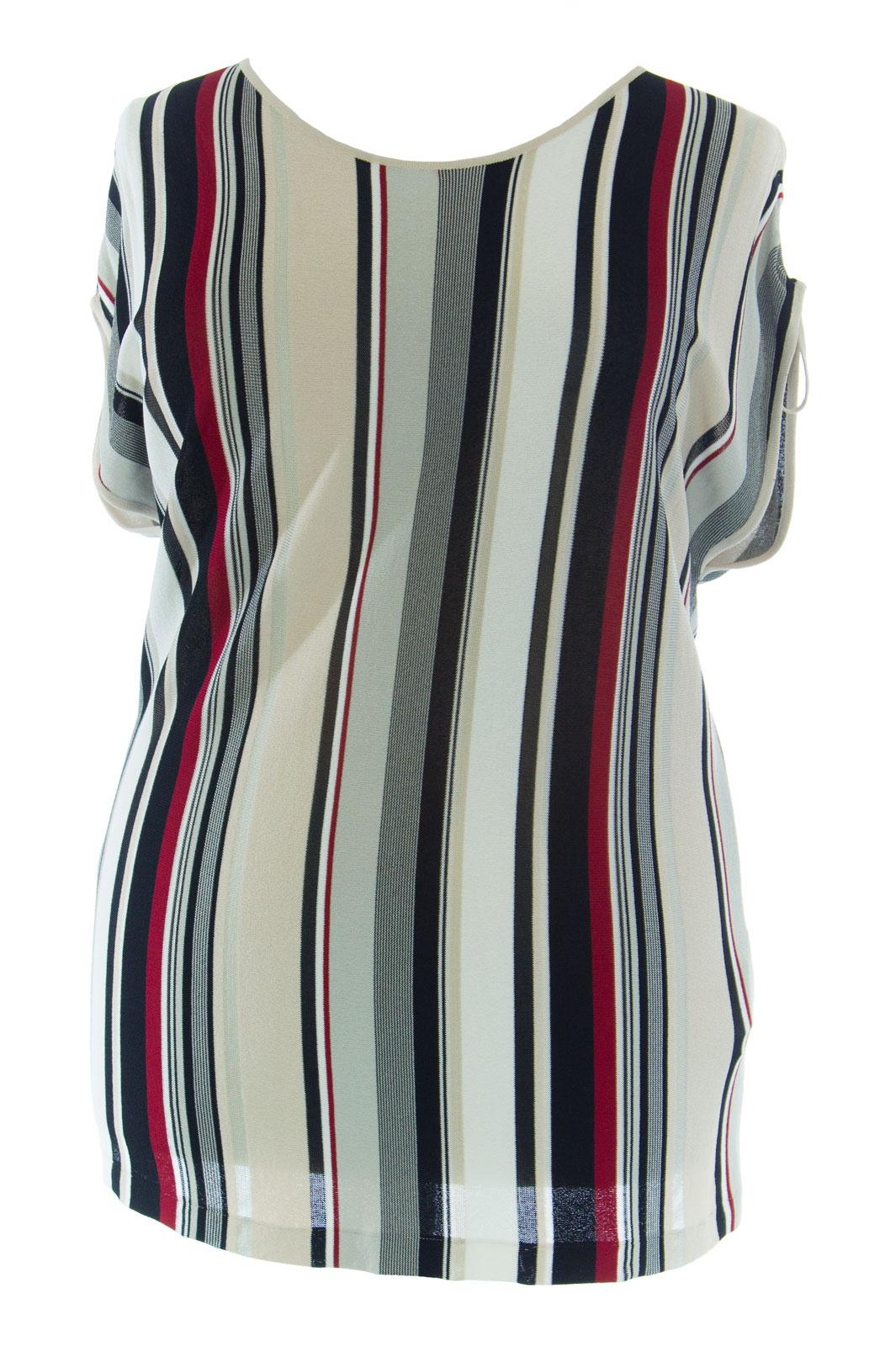 MARINA RINALDI by MaxMara Ravarino Multi-Farbe Striped Knit Top  NWT