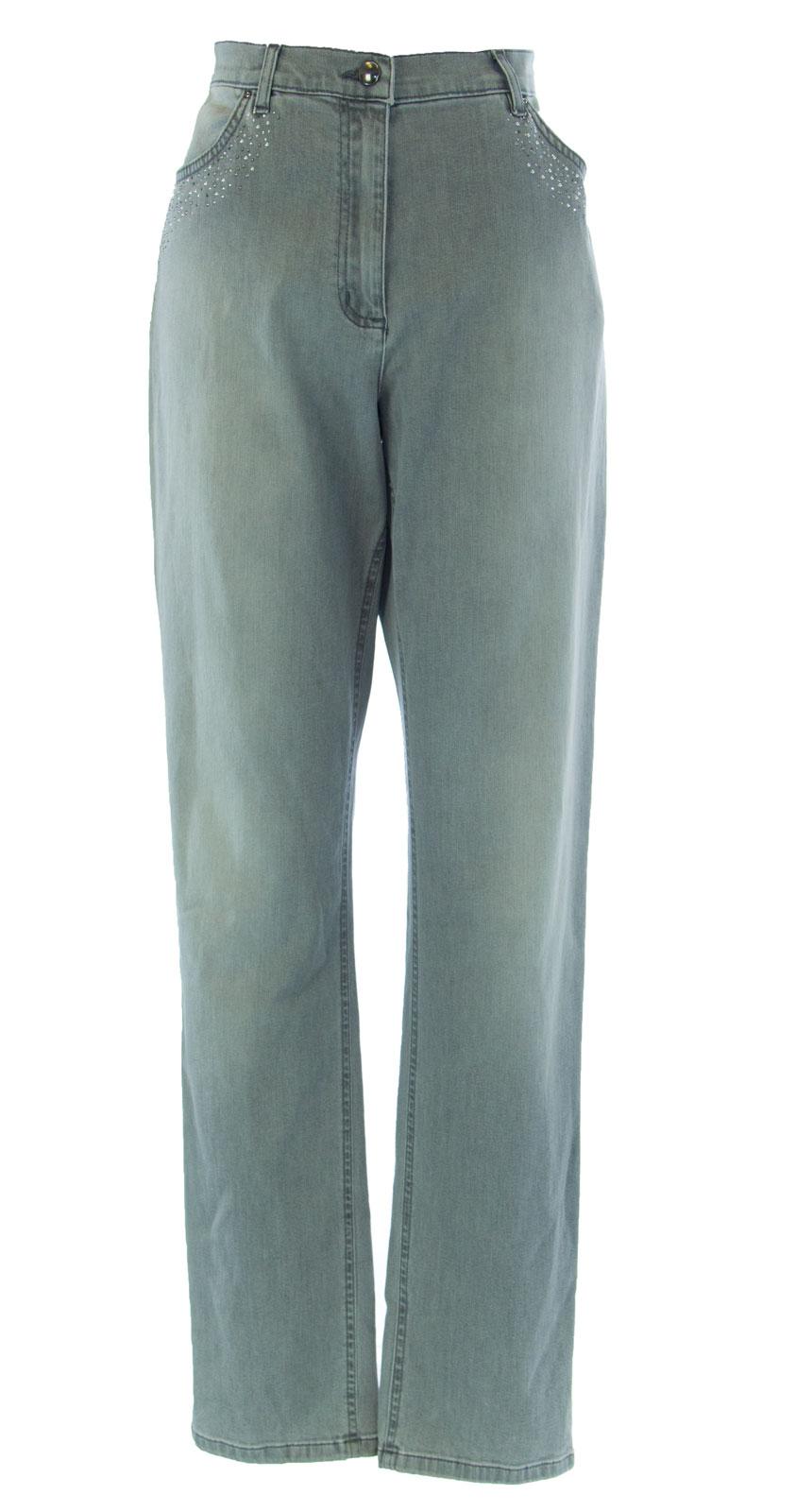 70bca7115dd MARINA RINALDI by MaxMara Wega Light Gray Rhinestone Detailed Jeans ...