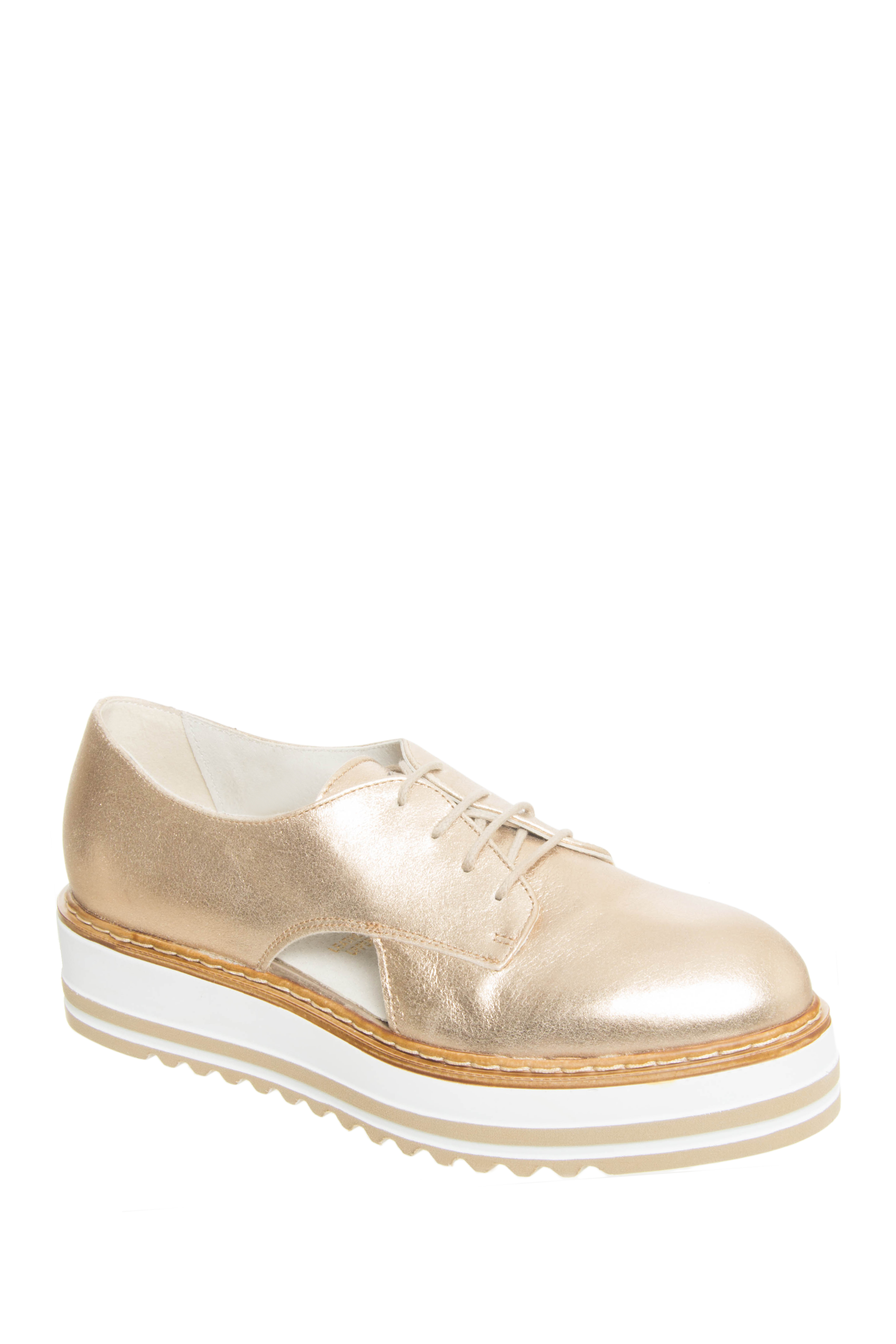 Summit by White Mountain Brody Double Stripe Platform Oxford - Gold / Metallic