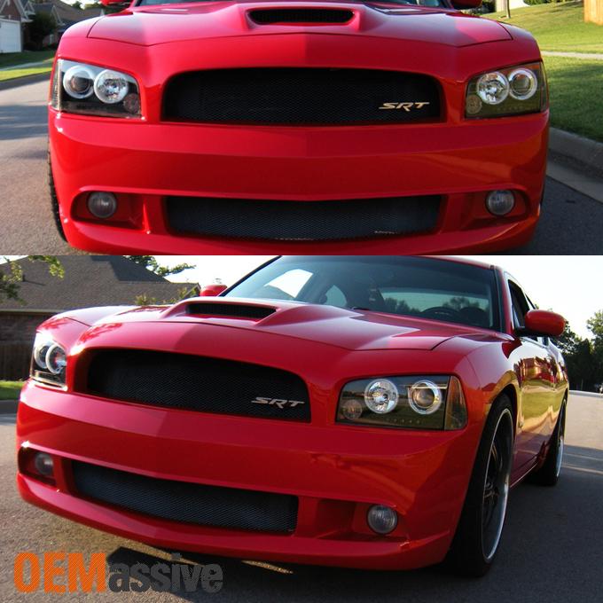 Fits 06-10 Dodge Charger Black Bezel Dual Halo LED Projector ...