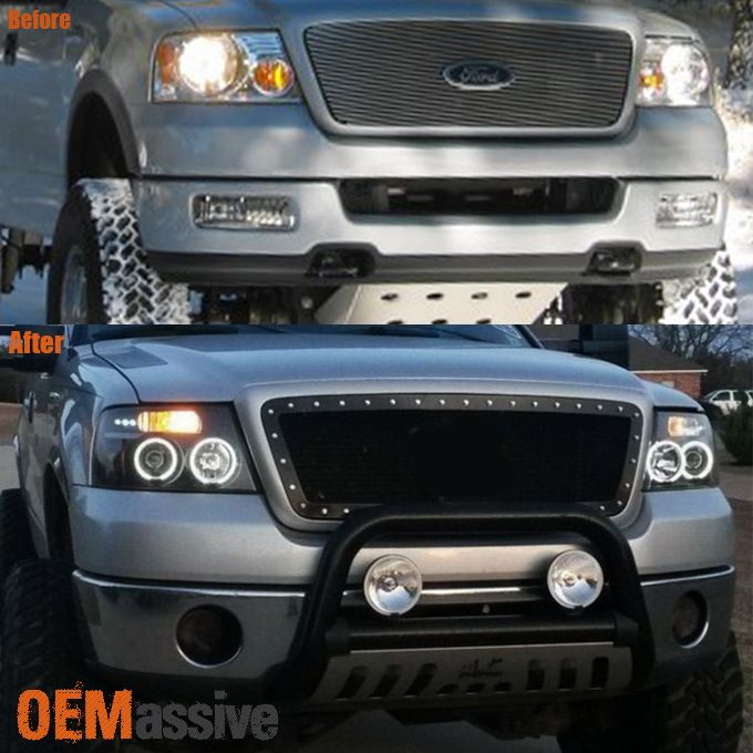 Details about Fits 2004-2008 Ford F-150 Black Halo Projector LED Headlights  04 05 06 07 08