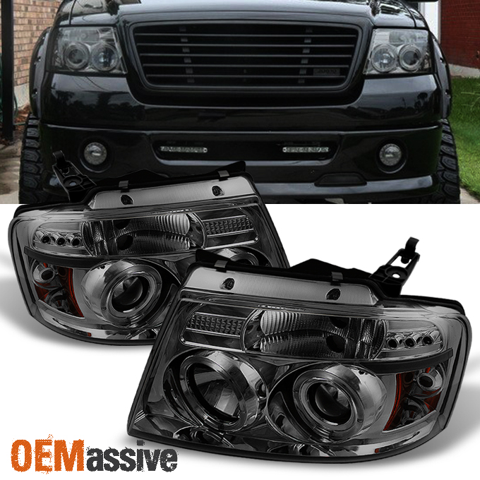 2004 2008 Ford F150 Smoked Dual Halo Led Projector