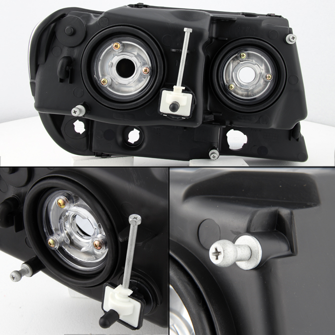 99 04 jeep grand cherokee replacement black headlights headlamps left right. Black Bedroom Furniture Sets. Home Design Ideas