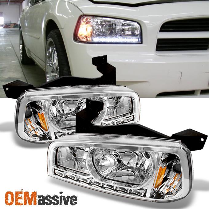 Fit 2006-2010 Dodge Charger Black LED Headlights w//Corner Lamps 06 07 08 09 10