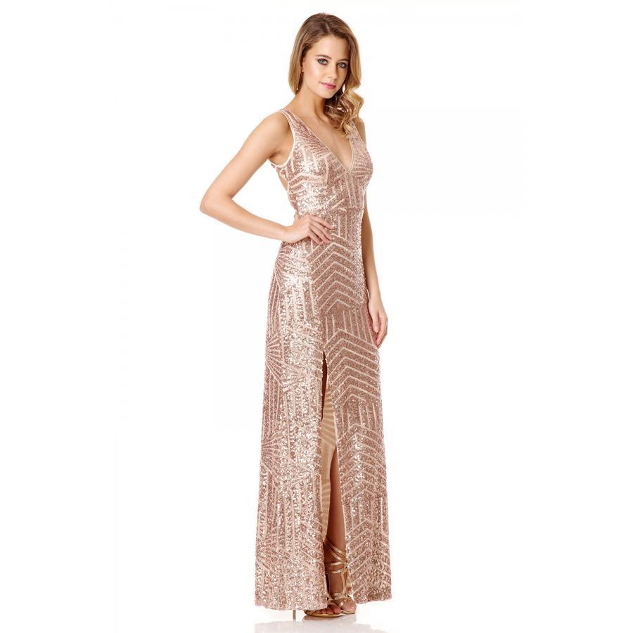 QUIZ Women's Rose Gold Sequin V Neck Zig Zag Maxi Dress