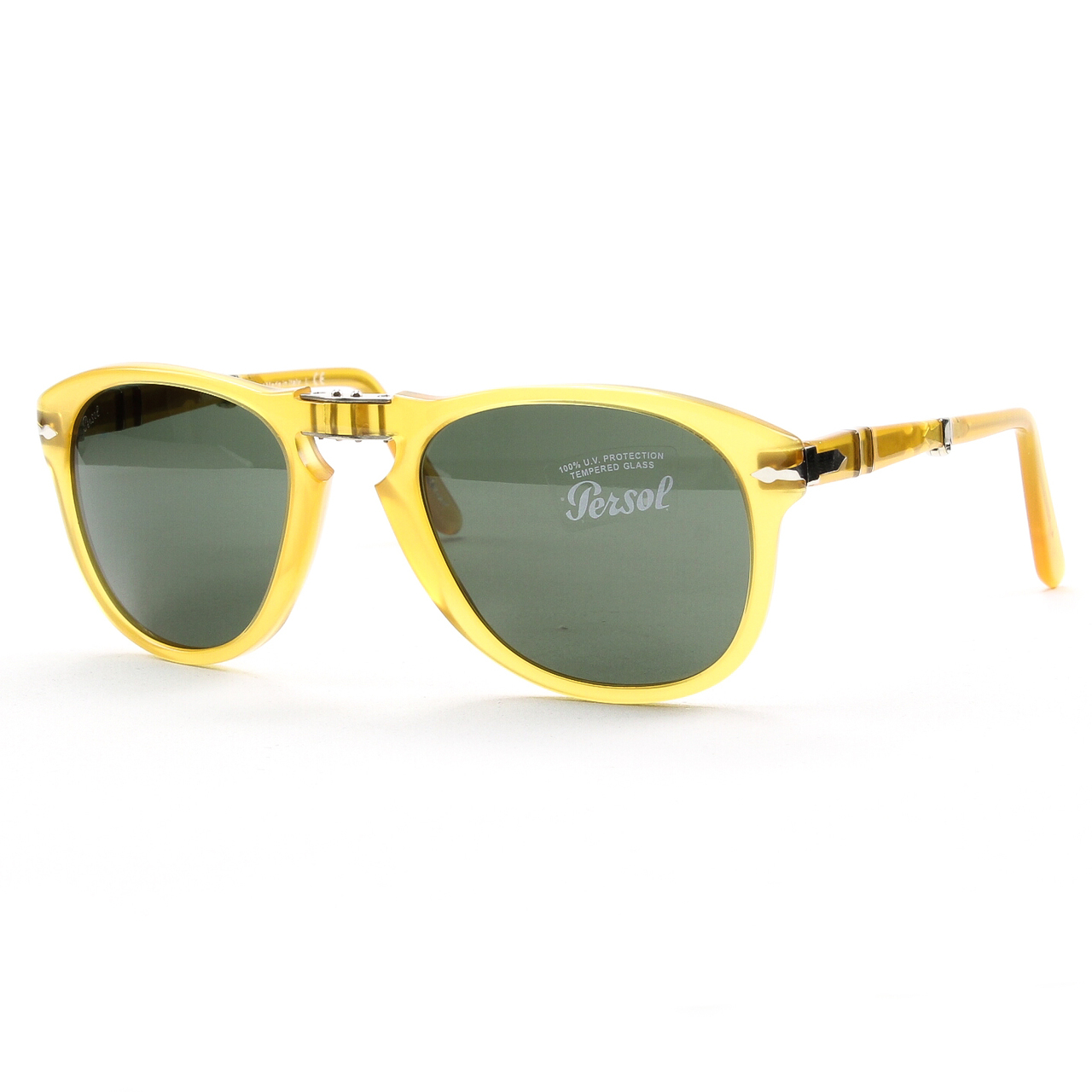 Persol 714 Folding Sunglasses 204/31 Transparent Honey, Crystal Lens PO0714 54mm