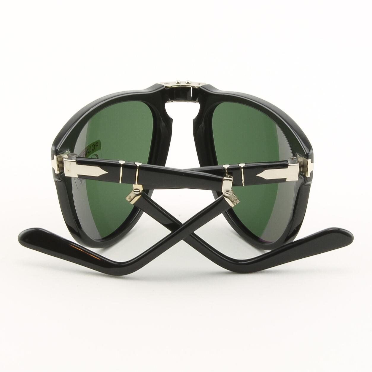 Persol 714 Folding Sunglasses 95/58 Black, Grey Green Polarized Lens PO0714 54mm | eBay