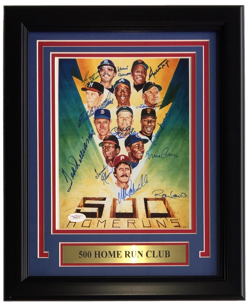 500 Home Run Club 11 Signed Framed 8x10 Photo JSA B98470 Mantle Mays ...