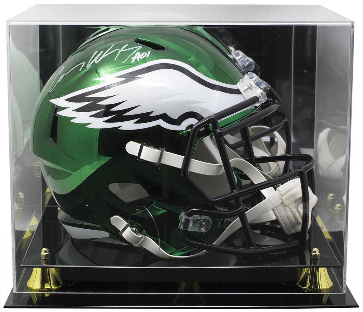 95a570c93ac Carson Wentz Signed Eagles FS CHROME Replica Helmet Fanatics w/Acrylic Case