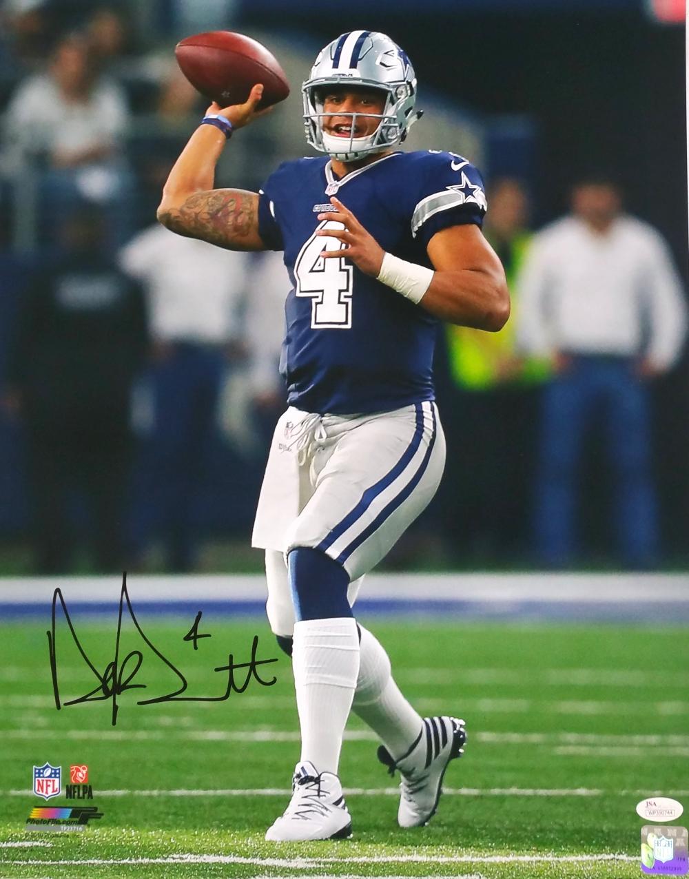 big sale 79313 68415 Details about Dak Prescott Signed 16x20 Dallas Cowboys Passing in Blue  Jersey Photo JSA