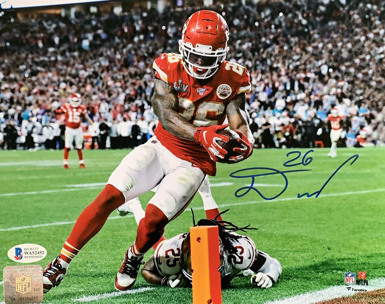 Damien Williams Super Bowl 54 Kansas City Chiefs Signed 8x10 Photo BAS
