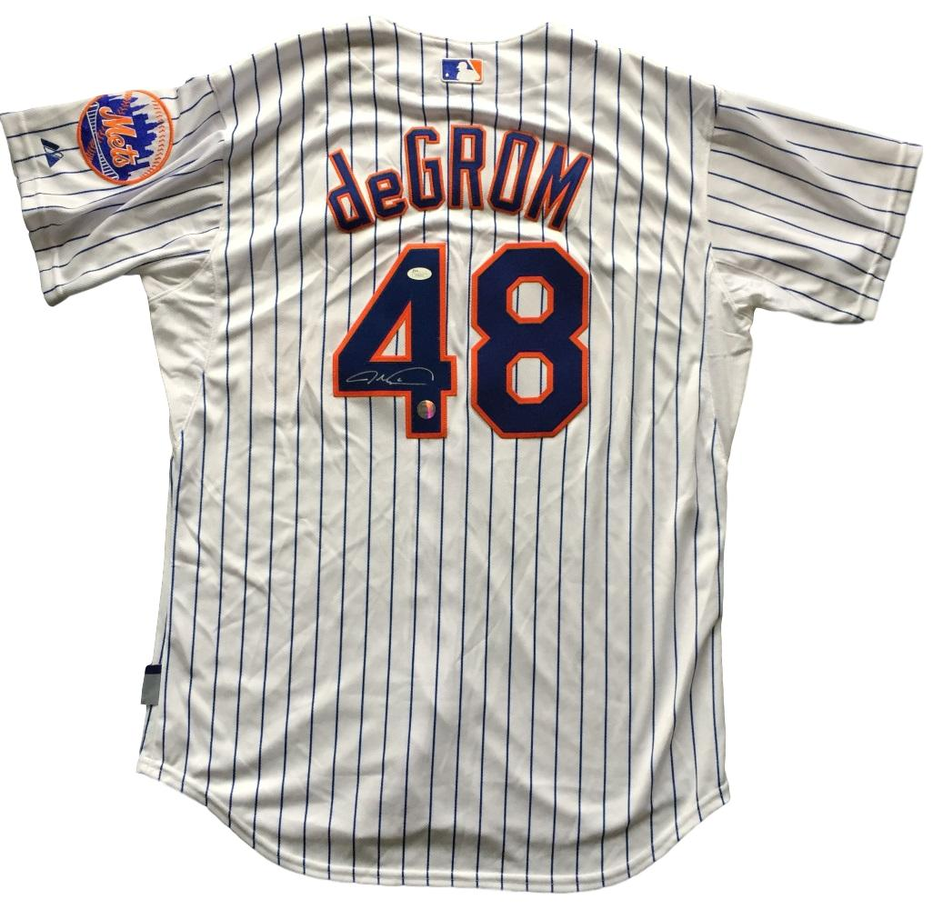 9e138ce98da ... discount code for details about jacob degrom signed ny mets authentic  pinstripe majestic cool base jersey